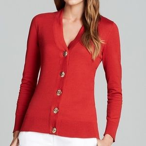 Tory Burch Red V-neck Knit Cardigan Sz S